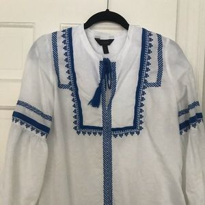 Linen and cotton blend embroidered top